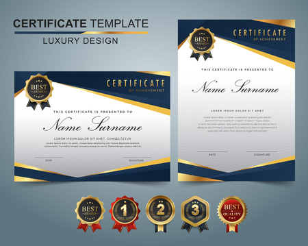 Certificate template with luxury and modern pattern, appreciation award diploma template set of dark blue and golden shapes and badge. Stock Illustratie