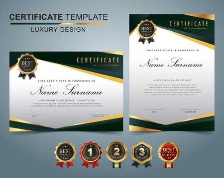 Certificate template with luxury and modern pattern, appreciation award diploma template set of green and golden shapes and badge. Stock Illustratie