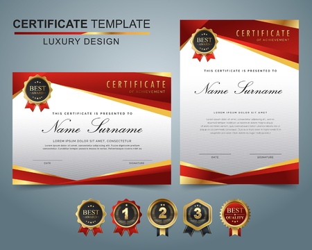 Certificate template with luxury and modern pattern, appreciation award diploma template set of red and golden shapes and badge.