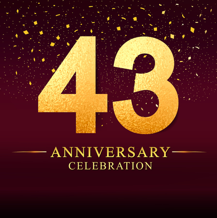 43 years anniversary. celebration logotype 43rd years.Logo with golden and on dark pink background, vector design for invitation card, greeting card.