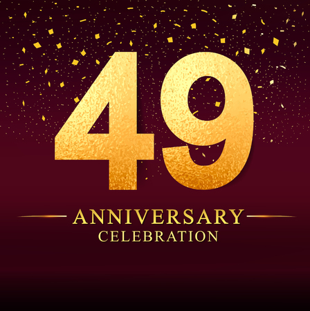 49 years anniversary. celebration logotype 49th years.Logo with golden and on dark pink background, vector design for invitation card, greeting card.