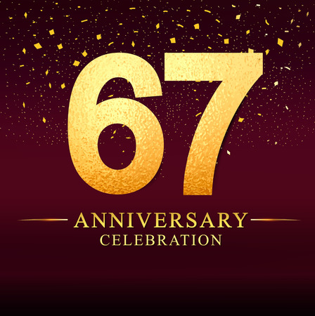 67 years anniversary. celebration logotype 67th years.Logo with golden and on dark pink background, vector design for invitation card, greeting card. Иллюстрация