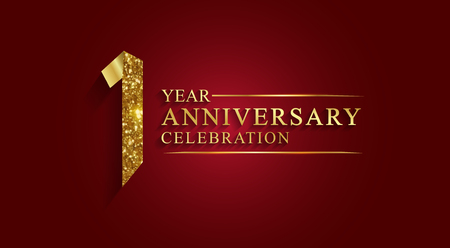 Logotipo de celebración de aniversario de 1 año. Logotipo, número de cinta de oro sobre fondo rojo. Números de cinta de lámina de oro.