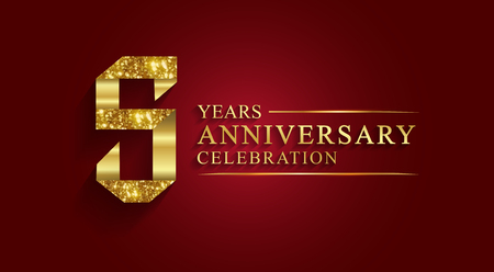 5 years anniversary celebration logotype. Logo,ribbon golden number on red background.Numbers ribbon gold foil.