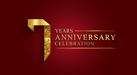 7 years anniversary celebration logotype. Logo,ribbon golden number on red background.Numbers ribbon gold foil.