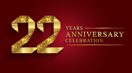 22 years anniversary celebration greeting. Ribbon golden number on red background.Numbers ribbon gold foil. Illustration