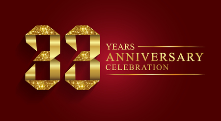 33 years anniversary celebration greeting. Ribbon golden number on red background.Numbers ribbon gold foil.