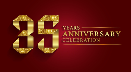 35 years  anniversary celebration greeting. Ribbon golden number on red background.Numbers ribbon gold foil. 矢量图像