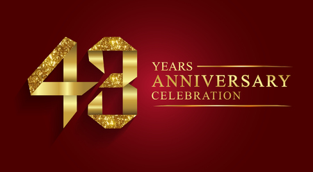 43 years anniversary celebration greeting. Ribbon golden number on red background.Numbers ribbon gold foil.