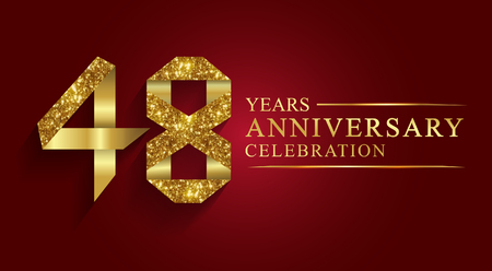 48 years anniversary celebration logotype. Logo,ribbon golden number on red background.Numbers ribbon gold foil.  イラスト・ベクター素材