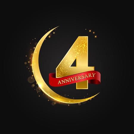Eid al Adha, 4 años de aniversario. Patrón con oro árabe, media luna dorada y brillo. Ilustración vectorial de tarjetas de felicitación, cubiertas, impresiones. Ilustración de vector