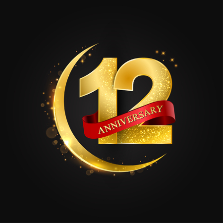 Eid al Adha 12 years anniversary.Pattern with arabic golden, gold half moon and glitter.Vector illustration of greeting cards, covers, prints. Illustration