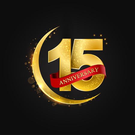 Eid al Adha 15 years anniversary.Pattern with arabic golden, gold half moon and glitter.Vector illustration of greeting cards, covers, prints. Illustration