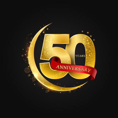 Eid al Adha 50 years anniversary.Pattern with arabic golden, gold half moon and glitter.Vector illustration of greeting cards, covers, prints.