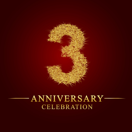 3 jaar verjaardag viering logo. Logo gouden stapel droge rijst op rode achtergrond. Nummer nest en fuzz goudfolie.