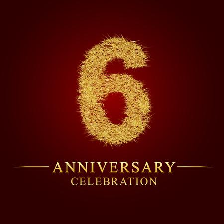 6 jaar verjaardag viering logo. Logo gouden stapel droge rijst op rode achtergrond. Nummer nest en fuzz goudfolie.
