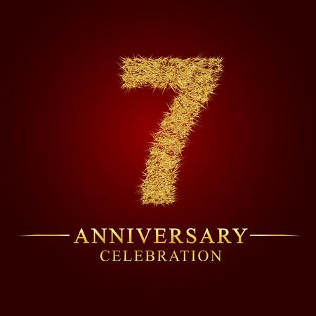 7 jaar verjaardag viering logo. Logo gouden stapel droge rijst op rode achtergrond. Nummer nest en fuzz goudfolie.