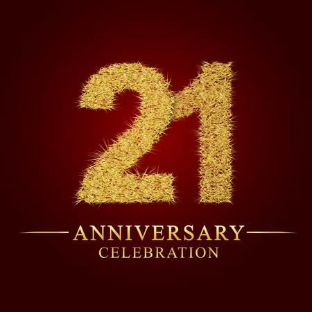 21 years anniversary celebration logotype. Logo gold pile of dry rice on red background. Number nest and fuzz gold foil.