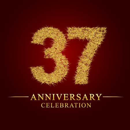 37 years anniversary celebration logotype. Logo gold pile of dry rice on red background. Number nest and fuzz gold foil. Illustration