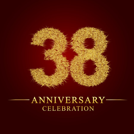 38 years anniversary celebration logotype. Logo gold pile of dry rice on red background. Number nest and fuzz gold foil.