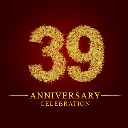 39 years anniversary celebration logotype. Logo gold pile of dry rice on red background. Number nest and fuzz gold foil. Illustration