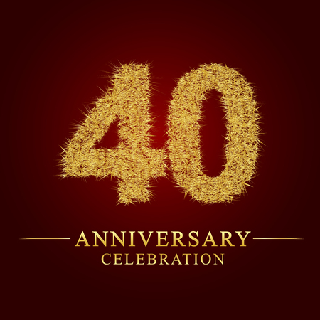 40 years anniversary celebration logotype. Logo gold pile of dry rice on red background. Number nest and fuzz gold foil. Illustration