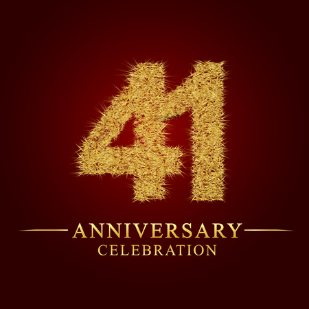 41 years anniversary celebration logotype. Logo gold pile of dry rice on red background. Number nest and fuzz gold foil.