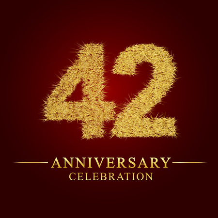 42 years anniversary celebration logotype. Logo gold pile of dry rice on red background. Number nest and fuzz gold foil. Illustration