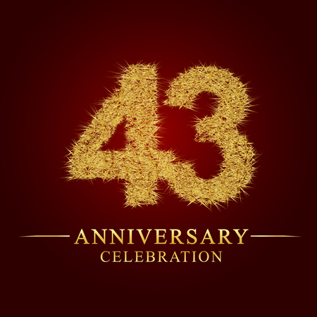43 years anniversary celebration logotype. Logo gold pile of dry rice on red background. Number nest and fuzz gold foil.
