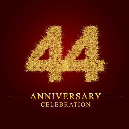 44 years anniversary celebration logotype. Logo gold pile of dry rice on red background. Number nest and fuzz gold foil.