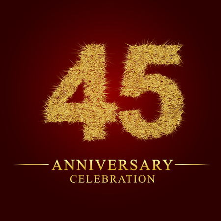 45 years anniversary celebration logotype. Logo gold pile of dry rice on red background. Number nest and fuzz gold foil.