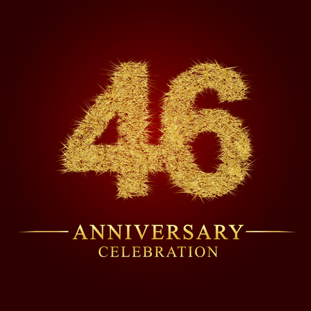 46 years anniversary celebration logotype. Logo gold pile of dry rice on red background. Number nest and fuzz gold foil.  イラスト・ベクター素材