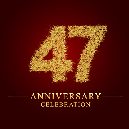 47 years anniversary celebration logotype. Logo gold pile of dry rice on red background. Number nest and fuzz gold foil.