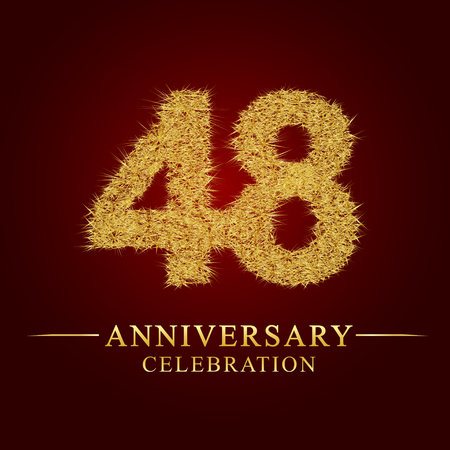 48 years anniversary celebration logotype. Logo gold pile of dry rice on red background. Number nest and fuzz gold foil.