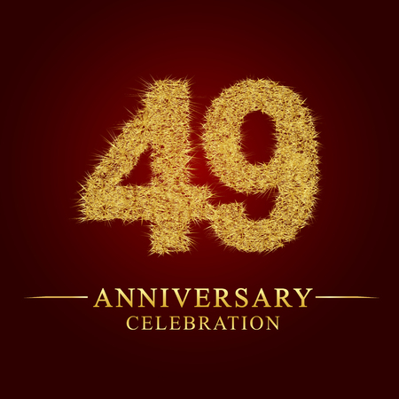 49 years anniversary celebration logotype. Logo gold pile of dry rice on red background. Number nest and fuzz gold foil.