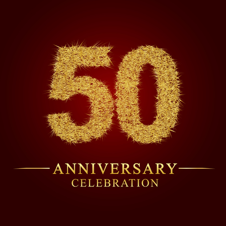 50 years anniversary celebration logotype. Logo gold pile of dry rice on red background. Number nest and fuzz gold foil.
