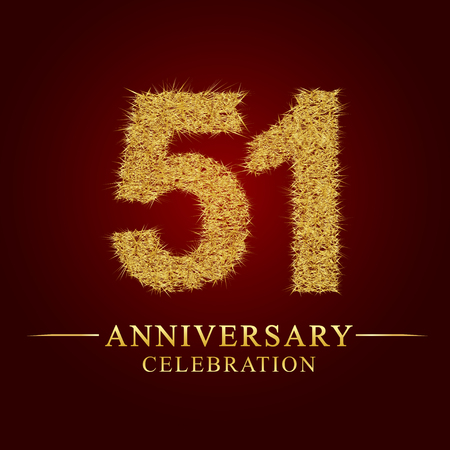 51 years anniversary celebration logotype. Logo gold pile of dry rice on red background. Number nest and fuzz gold foil.