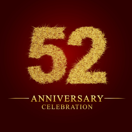 52 years anniversary celebration logotype. Logo gold pile of dry rice on red background. Number nest and fuzz gold foil.