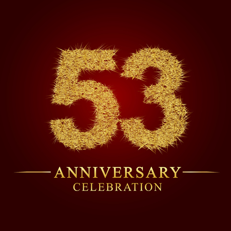 53 years anniversary celebration logotype. Logo gold pile of dry rice on red background. Number nest and fuzz gold foil.