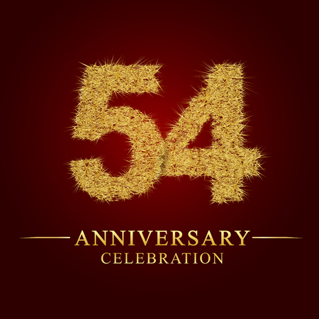 54 years anniversary celebration logotype. Logo gold pile of dry rice on red background. Number nest and fuzz gold foil.