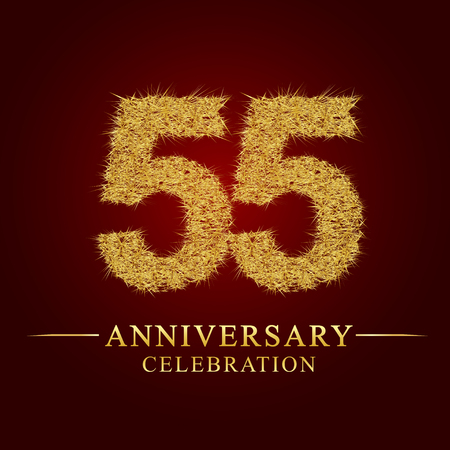 55 years anniversary celebration logotype. Logo gold pile of dry rice on red background. Number nest and fuzz gold foil.  イラスト・ベクター素材