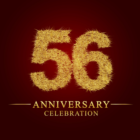 56 years anniversary celebration logotype. Logo gold pile of dry rice on red background. Number nest and fuzz gold foil.