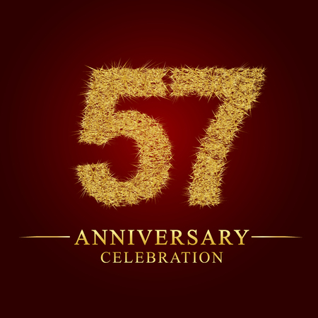 57 years anniversary celebration logotype. Logo gold pile of dry rice on red background. Number nest and fuzz gold foil.