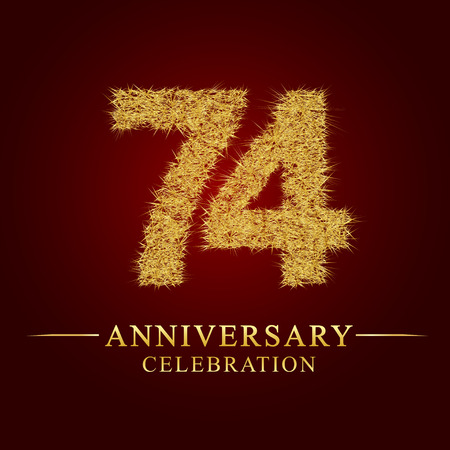 74 years anniversary celebration logotype. Logo gold pile of dry rice on red background. Number nest and fuzz gold foil.