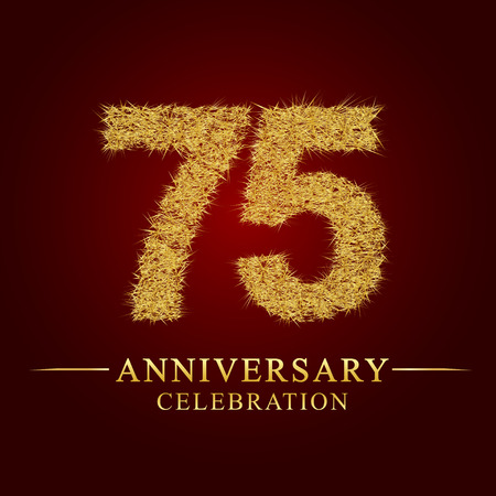 75 years anniversary celebration logotype. Logo gold pile of dry rice on red background. Number nest and fuzz gold foil.