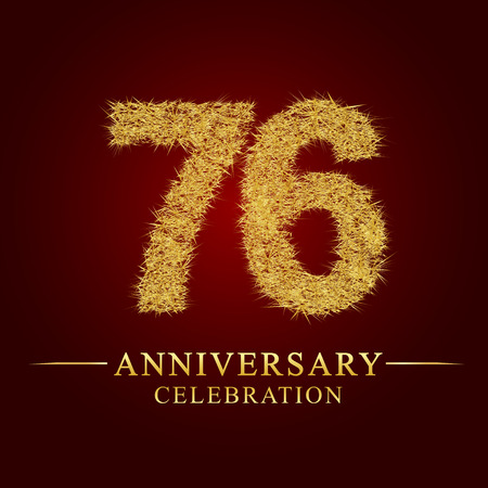 76 years anniversary celebration logotype. Logo gold pile of dry rice on red background. Number nest and fuzz gold foil.