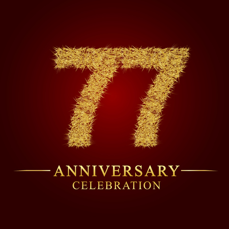 77 years anniversary celebration logotype. Logo gold pile of dry rice on red background. Number nest and fuzz gold foil. Illustration
