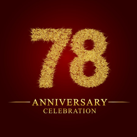 78 years anniversary celebration logotype. Logo gold pile of dry rice on red background. Number nest and fuzz gold foil.