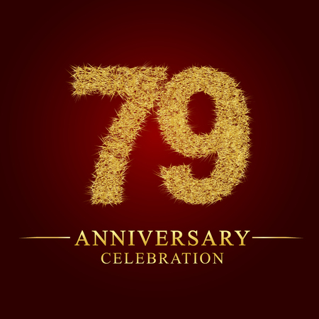 79 years anniversary celebration logotype. Logo gold pile of dry rice on red background. Number nest and fuzz gold foil.