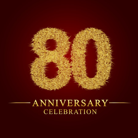 80 years anniversary celebration logotype. Logo gold pile of dry rice on red background. Number nest and fuzz gold foil.